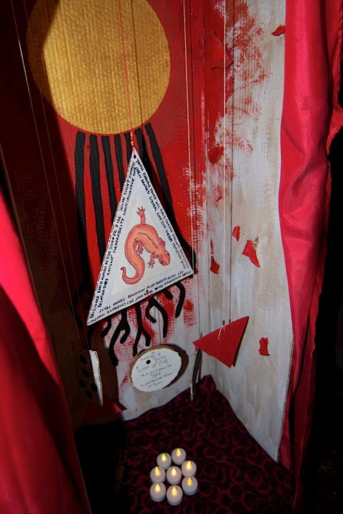Close up of the South altar installed at Bad For Jazz Know Happening, The Josephine, Seattle WA, Winter Solstice 2012. Photo by Rachel LeBlanc