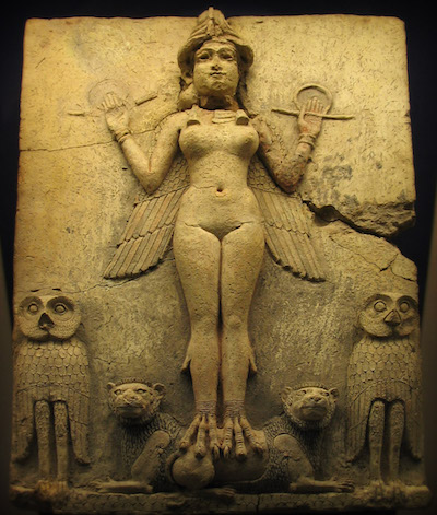 a stone relief of Ishtar/Ereshkigal