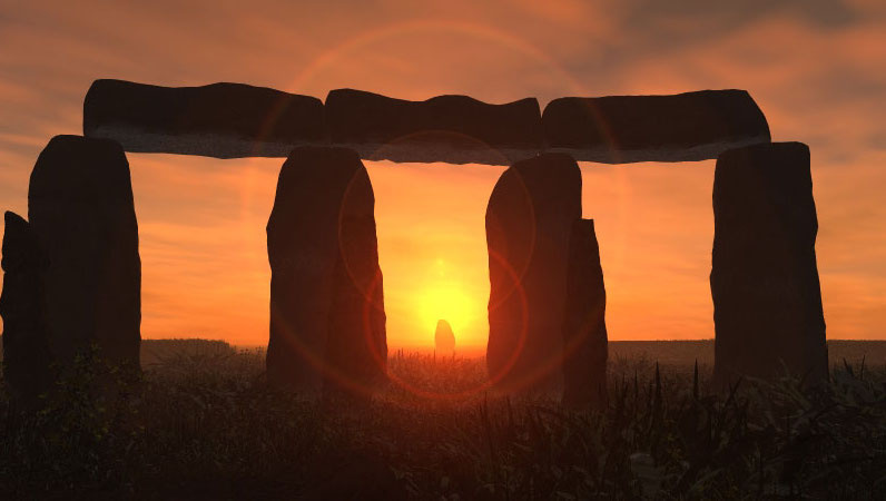 Stonehenge, a massive stone megalith or structure is depicted in silhouette against a fiery red and orange sunrise on Litha or Summer Solstice morning.